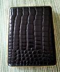 Hansa Black Crocodile Leatherette / Brass Cigarette Case Made in Germany NIB