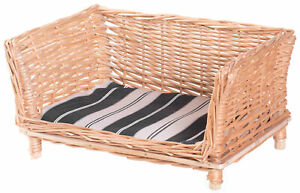 Natural Willow Cat or Dog Wicker Bed Basket with Cushion For Indoor and Outdoor