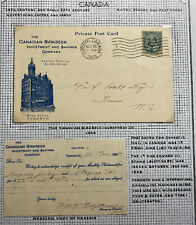 1905 Toronto Canada Advertising Postcard Cover Canadian Birkbeck Investment