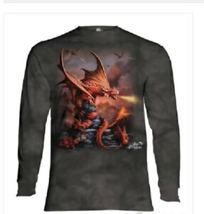 The Mountain Fire Dragon Long-sleeved Shirt-Fantasy-Age of Dragons-Small-3X
