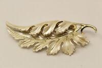 Beautiful Goldtone White Enamel Coro Pegasus Leaf Brooch Pin G*