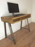 Solid Wood Computer Desk & Drawer Reclaimed Pine Rustic Table - Industrial Legs