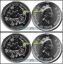 2x CANADA 2000 CANADIAN QUARTER QUEEN * ACHIEVEMENT * RARE 25 CENT COINS LOT