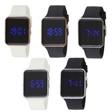 Reflejo de diseñador LED Para hombres Reloj alarma digital Carcasa Negro Correa De Silicona Cuadrado
