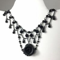 Gothic Victorian Style Black Collar/Choker Rose Pendant Chandelier Necklace