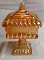 "Vintage Carnival Glass. Amber/marigold. Candy Dish Trinket Jar W/ Lid 6.5"" Tall"