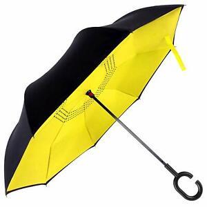 Reflective Reverse Umbrella,Inverted C-Handle Umbrella,Windproof Umbrella Yellow
