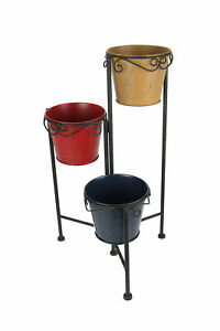 3 Level Foldable Plant Stand With Colorful Metal Planters 21.5 Inches High