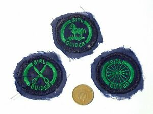 3 Vintage Embroidered Cloth Badges Girl Guides Cyclist Needlewoman Toymaker #G4
