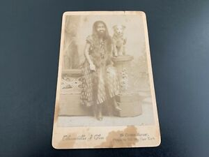Antique Circus Cabinet Card Photograph - KRAO FARINI (Bearded Lady) Sideshow