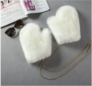 Winter Women Faux Fur Gloves Artificial Fur Mittens Cute Plush Hand Warmer 62474