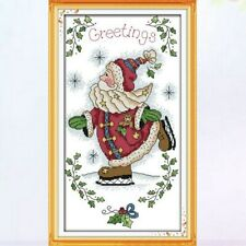 SKATING SANTA COUNTED CROSS STITCH KIT 14 COUNT AIDA SIZE 21x37CM