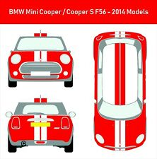 Marca nueva Custom BMW Mini Cooper S F56 techo Stickers Vinyl Decals Viper Rayas