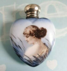 Silver Top Painted Lady Scent Bottle