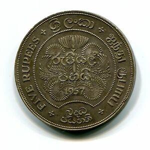 Ceylon Silver 5 Rupees 1957 Buddhism 2500 Years KM-126 Queen Elizabeth II