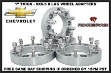 """4- 1"""" Chevy GMC 8x6.5 Wheel Spacers Adapters 14x1.5 Studs Fits 2500 3500 Trucks"""