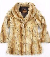 GUESS Faux Fur Coat leopard Animal Print Jacket women's size SMALL