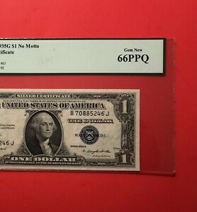 1935G -$1 SILVER CERTIFICATE NOTE,GRADED BY PCGS GEM NEW 66 PPQ