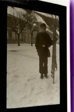 tolles altes Negativ -  Junge mit Skiern, Pimpf Jugend