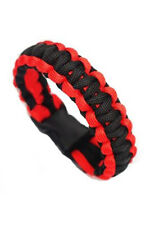 Paracord Parachute Cord Bracelets Buckle Survival Camping Black+Red LW