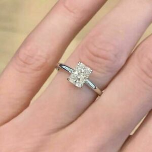 14K White Gold Over 1.5CT Radiant cut Diamond Engagement Solitaire Ring Jewelry