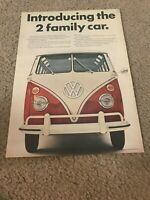 """Vintage 1970s VOLKSWAGEN VW STATION WAGON Print Ad """"INTRODUCING 2 FAMILY CAR"""""""