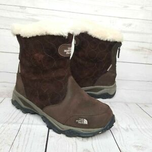 The North Face Women's Bella Alta Booties Boots Brown Zipper Faux Fur Size 6