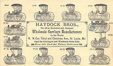 St Louis Mo Haydock Bros. Wholesale Carriage Manufacturers Buggies 1877 Postcard