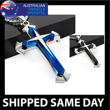 CROSS PENDANT Necklace Crucifix Celtic Silver Gold Jesus Chain Christian 103