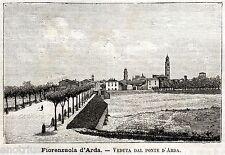 Fiorenzuola d'Arda: Panorama. Piacenza.Emilia. Stampa Antica + Passepartout.1891