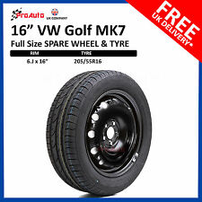 """VW GOLF MK7 2012 - 2018 FULL SIZE STEEL SPARE WHEEL 16""""  AND TYRE 205/55R16"""