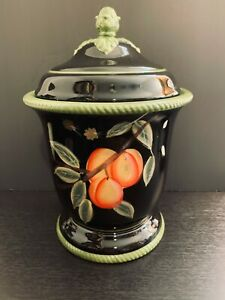 """Certified International Handpainted 10 1/4"""" Black, Green, & Fruits Canister."""