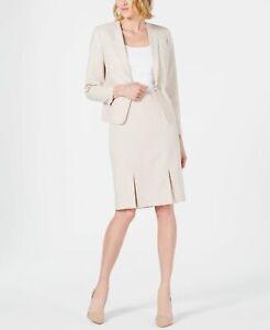 Le Suit Women's Skirt Suit Tam Beige Size 18 Plus Seamed-Pleated $200 304