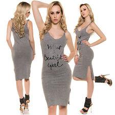 Sexy Feinripp Kleid Partykleid Trägerkleid Print Text, grau, S/M 34-36-38