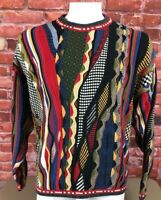 Vtg Tosani Coogi Biggie 3D Textured Colorful Crew Neck Sweater Hip Hop Cosby (3)