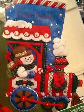 "Bucilla All Aboard Felt Stocking Kit 16"" Snowman In Choo Choo Train Personalize"
