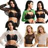 Women's Casual Sheer Mesh Hollow Out Long Sleeve Crop Top Shirt Tank Tops Blouse