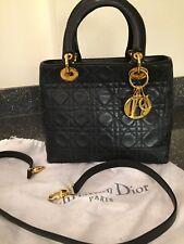 Impresionante, mantecoso suave Vintage Mediano Negro Piel De Cordero Lady Dior Bolso de Mano Cartera