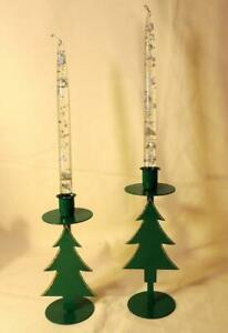 """SET 2 GREEN METAL CHRISTMAS TREE CANDLE HOLDERS w/GOLD GLITTER-9"""" & 7-1/2"""" H=NEW"""