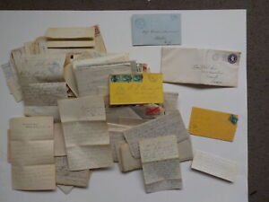 110 Old Letters 1800s-70s Correspondence Lot Collection Papers Covers Stamps VTG
