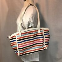 Relic Caraway Medium Tote Bag Handbag Shoulder Multicolor Stripe Pockets White