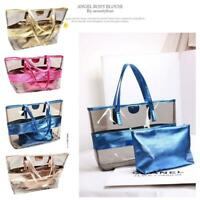 Women Large Capacity PVC Clear Transparent Shoulder Bag Tote Candy Beach Handbag
