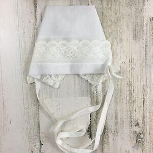 Vtg Infant Baby Girls White Christening Bonnet Hat Lace Trim Ribbon Ties Nasharr