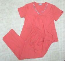 Reina Scrubs Medical Uniform Pants & Top Set Size Medium Orange Inseam 26 In