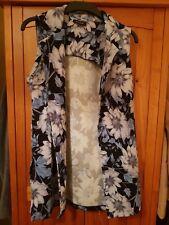 Ladies New Look Blue Flower Print Waist Coat Size 12