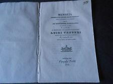 1836 MEMORIA DOTT. BARBIERI AL PROF. LUIGI VENTURI MORTO DI COLERA A MONTEFANO