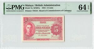 MALAYA 5 Cents 1941, P-7a British Administration, PMG 64 Choice UNC