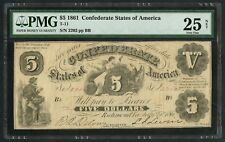 CSA #T-11 $5 1861 LIBERTY & SHIELD PMG 25 NET VF FRIEDBERG CV $7,5K FINE WLM4954
