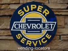 "CHEVROLET Super Service 14"" Metal Tin Sign CHEVY Cars Truck Garage Corvette NEW"