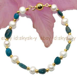 8-10mm Irregular Blue Apatite Gems Beads 7-8mm White Real Pearl Bracelet 7.5''